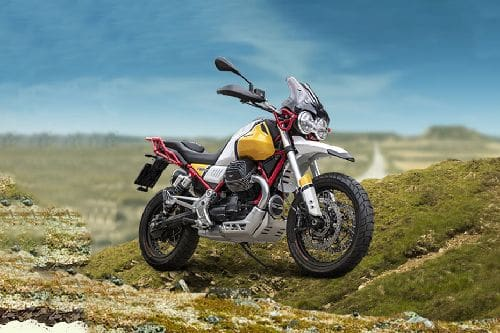 Moto Guzzi V85 TT Slant Rear View Full Image